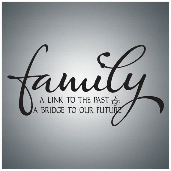 Family Friends Wall Decal Art - Family A link to the past & a bridge to the future....Wall Quote Dec