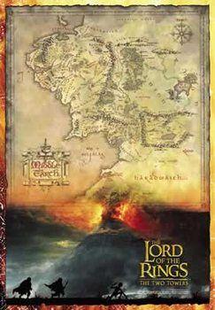 Juliste Hobitti Taru Sormusten Herrasta Keskimaan Kartta
