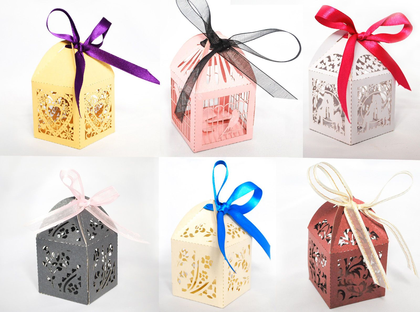 Luxury Laser Cut Wedding Birthday Engagement Gift Favour Boxes Table ...