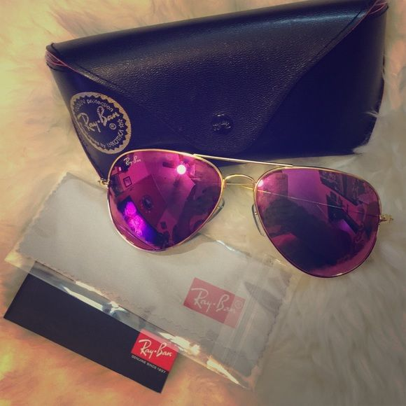 4415404241060 Authentic Ray-ban aviator flash Pink purple Brand new RB aviator 58mm  Pink purple  mirrored,with case Ray-Ban Accessories Glasses