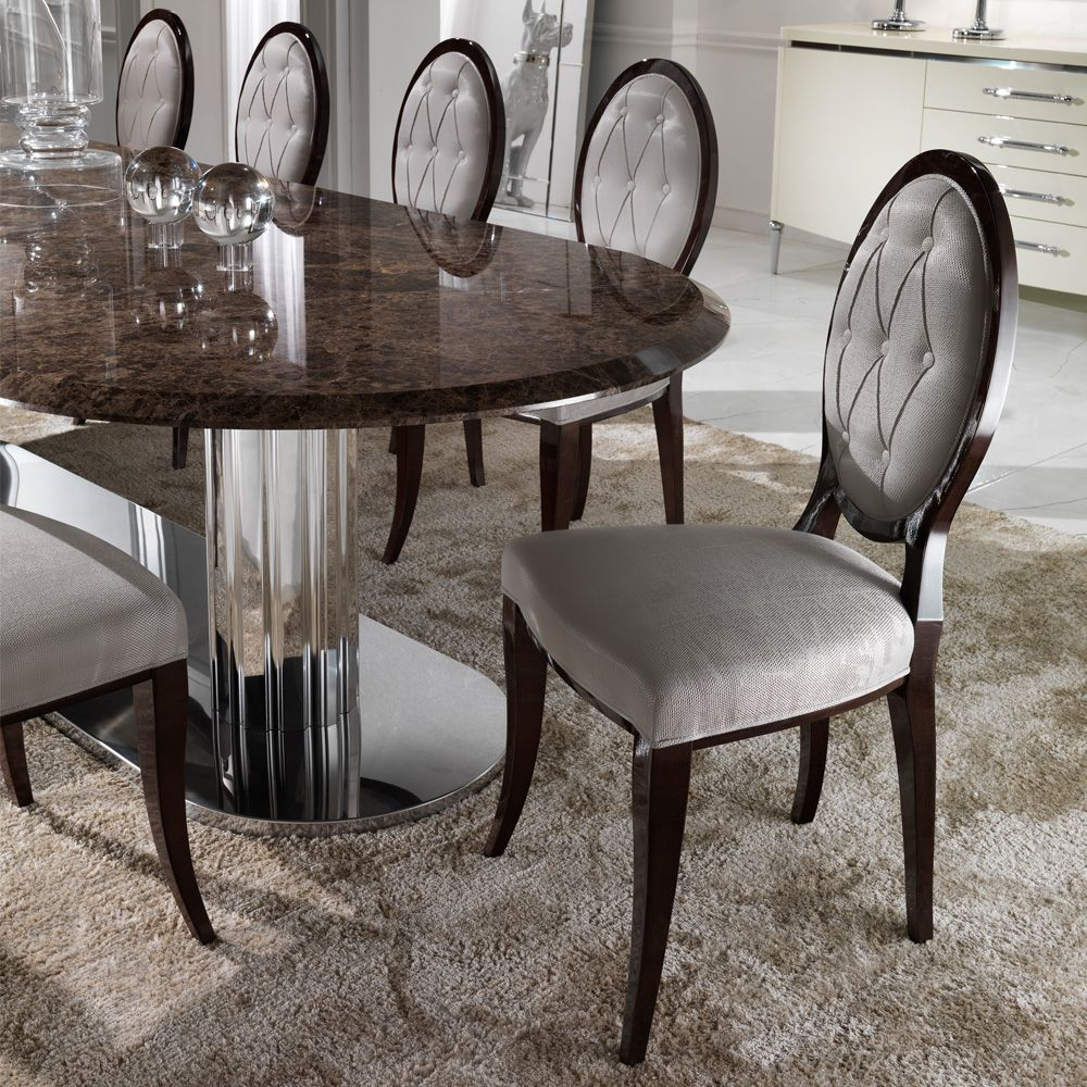 Italian Dining Table Elegant Oval Button Upholstered Dining Chair