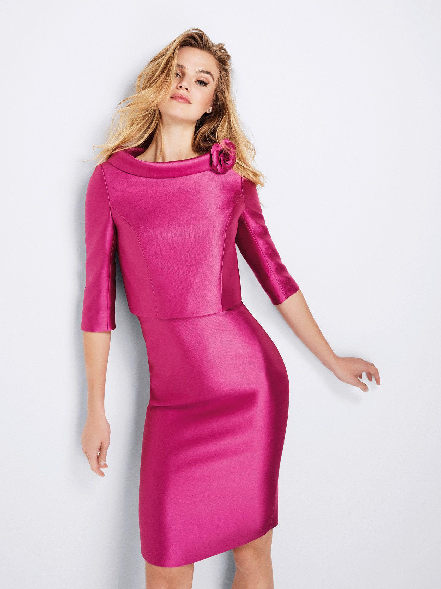 Giuliana: Vestido de cóctel con mucho estilo en mikado satinado con ...