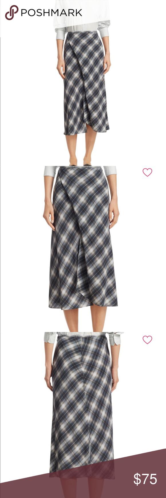 68bace34399889 Vince shadow plaid silk draped skirt Size 4 Lightly worn Vince Skirts Midi