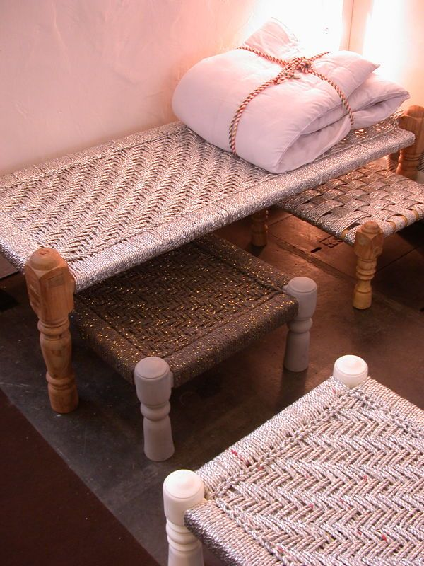 Charpoy–a daybed made of woven rope that originated in rural India