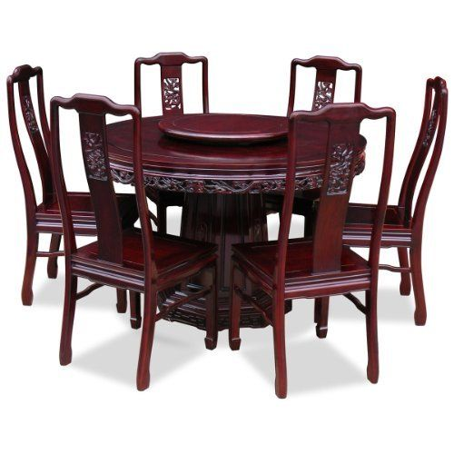 Traditional Cherry Casual Carved Design Dining Room Round: 48in Rosewood Round Dining Table With 6 Chairs