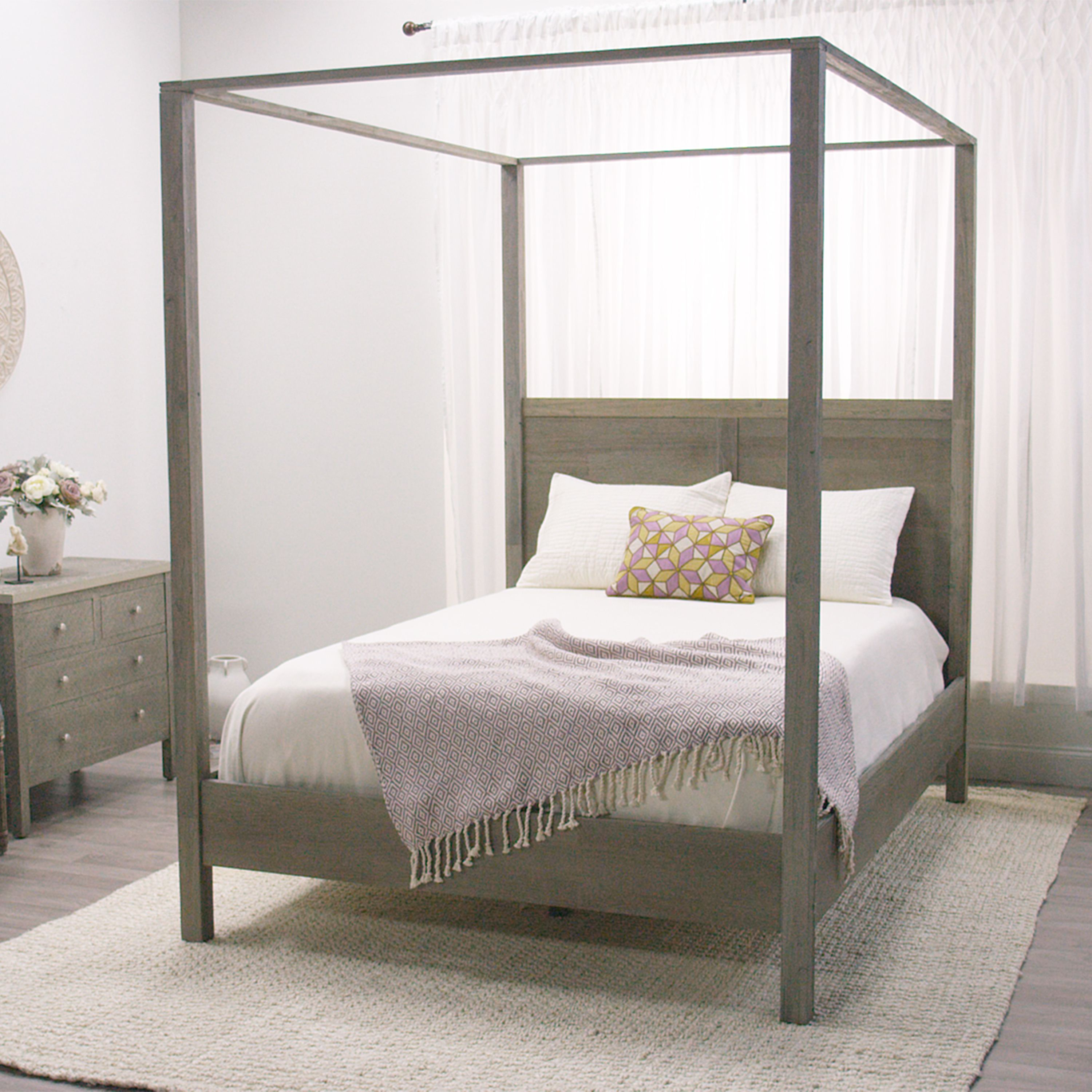 Canopy Bedroom Sets Girls in a simple, clean-lined silhouette with a weathered gray finish