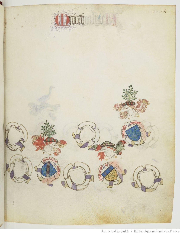 « Registre d'armes » ou armorial d'Auvergne, dédié par le hérault Guillaume REVEL au roi Charles VII.  Date d'édition :  1401-1500  Français 22297  Folio 161