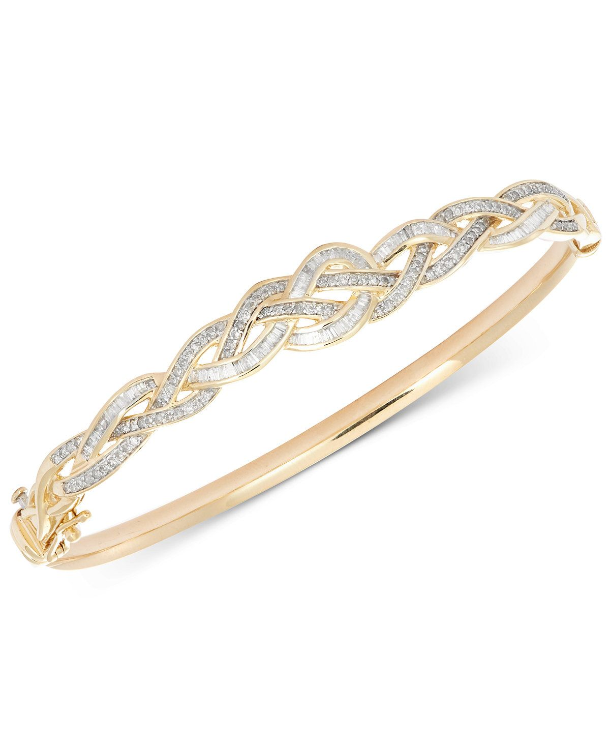 Wrapped in love diamond braided bangle bracelet ct tw in k