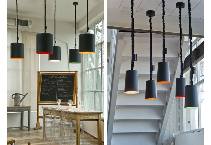 A sinistra, una foto d'insieme delle lampade Bin Lavagna; a destra, il modello Paint Lavagna