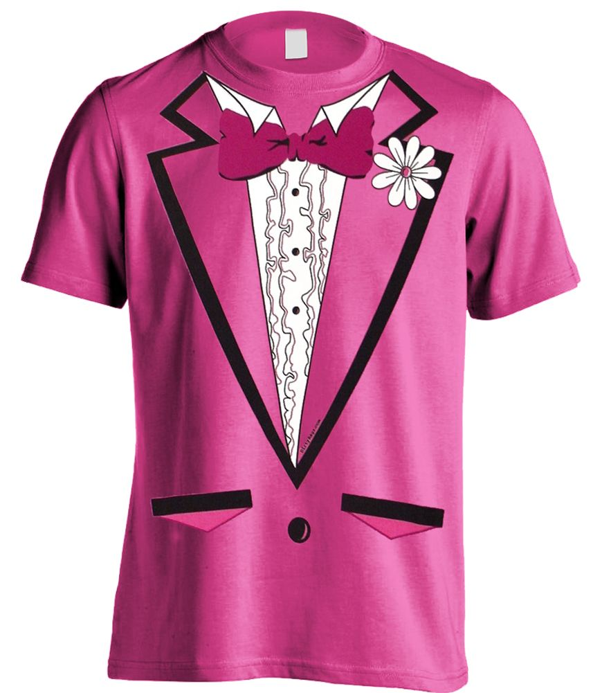 Tuxedo Shirt - Men's HOT PINK Tuxedo T-Shirt With Ruffles (Hot ...