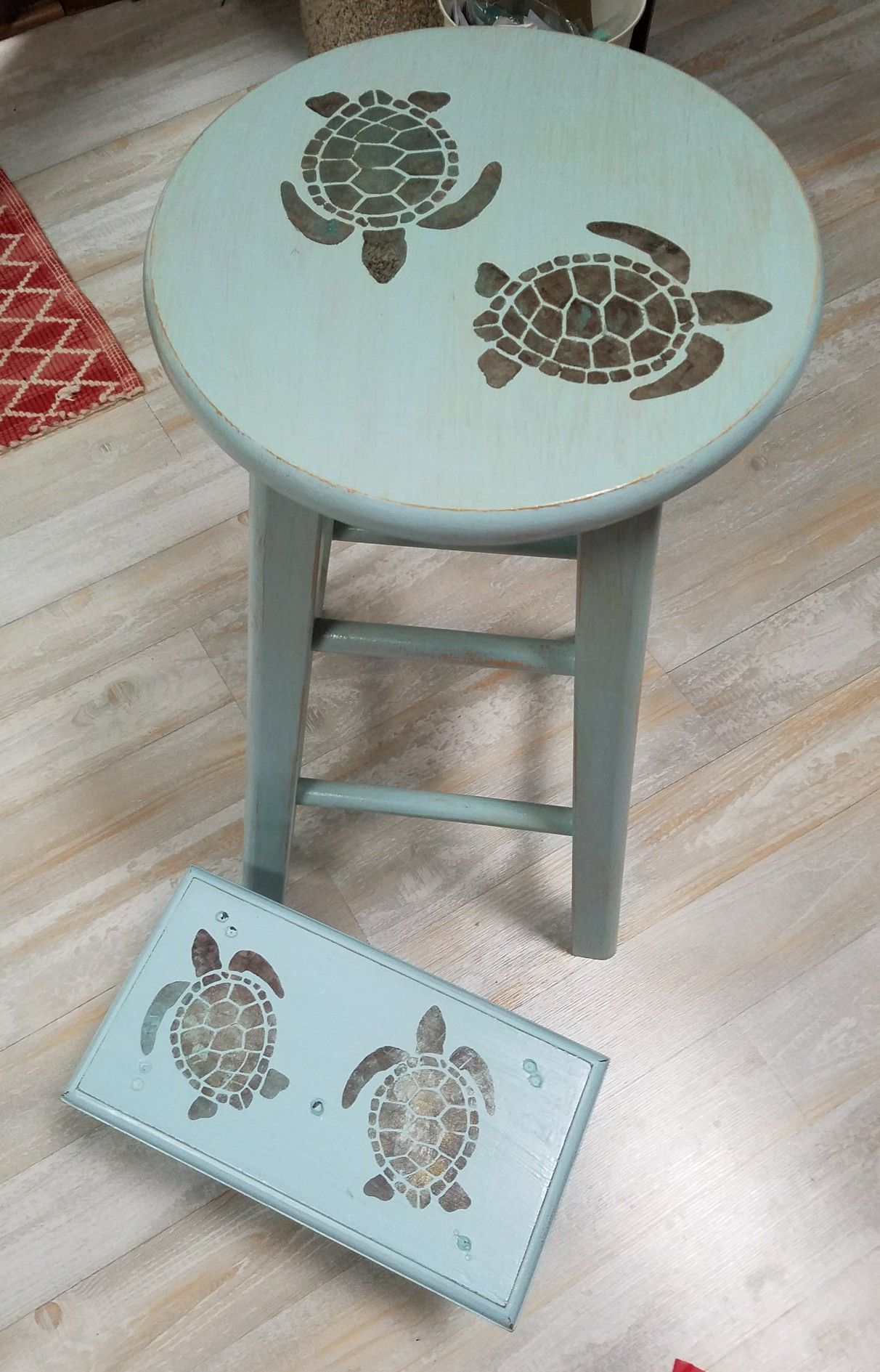 Bar stool recycle, redo, upcycle , sea turtles stencil Matching ...