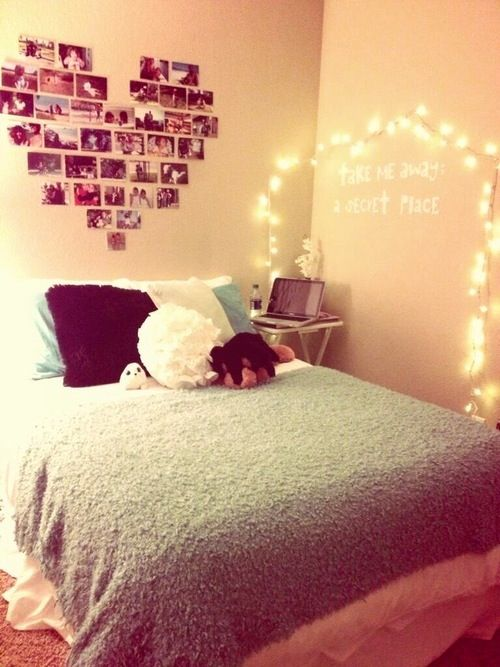 Original idea:) Looks plain though.. Quote and lights above bed with ...