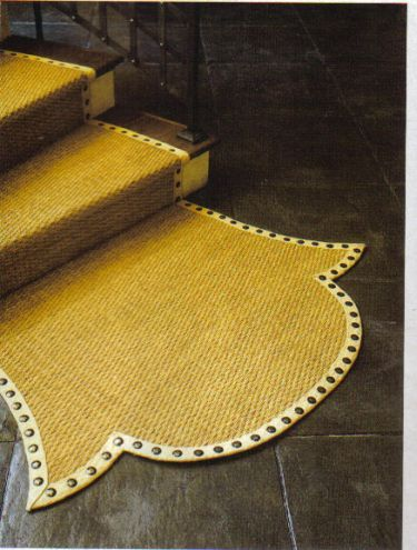 Nail Head Trim On Custom Stair Runner Is Pretty Cool, As Is The End Shape.  Ideas For Modern Stair Runners Are Few And Far Between.