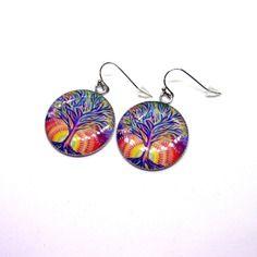 Boucles d'oreilles cabochons résine 25mm motif arbre de vie coloré