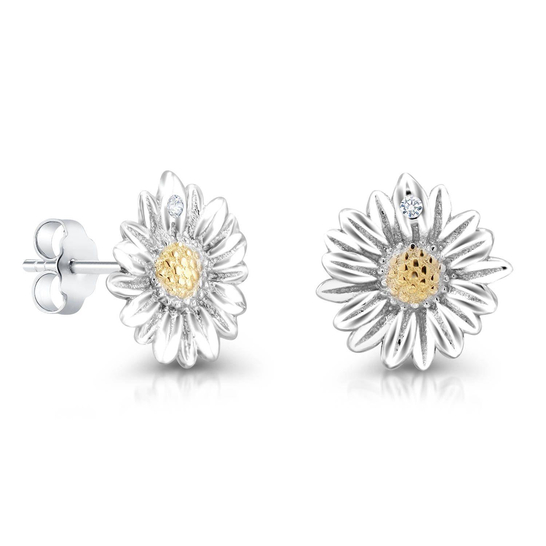 sterling silver earrings Flower earrings silver earrings sterling silver jewelry sunflower earrings daisy earrings silver jewelry