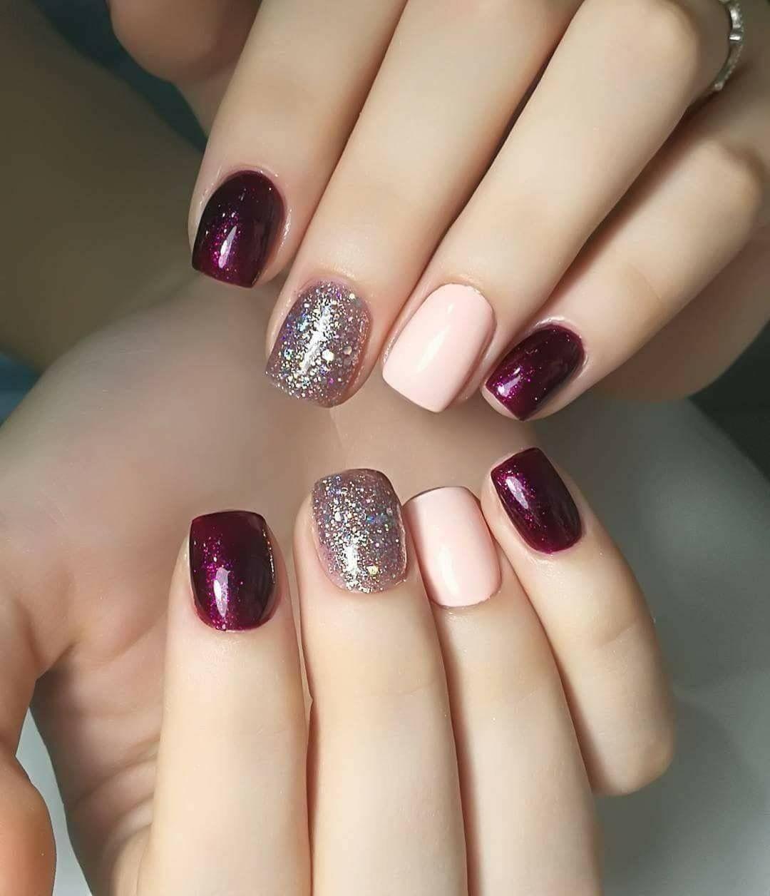 Unas Granate Rosas Y Plata Nails Nail Polish Nail Color Trends