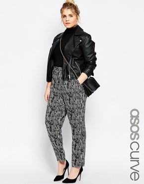 be432267b49 ASOS CURVE Woven Tapered Peg Pant In Mono Stripe Print