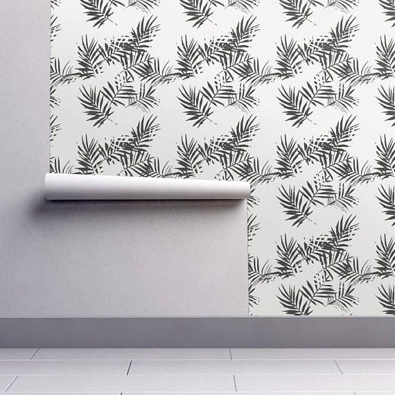 Banana Leaf Wallpaper Palm Black and White by Holli