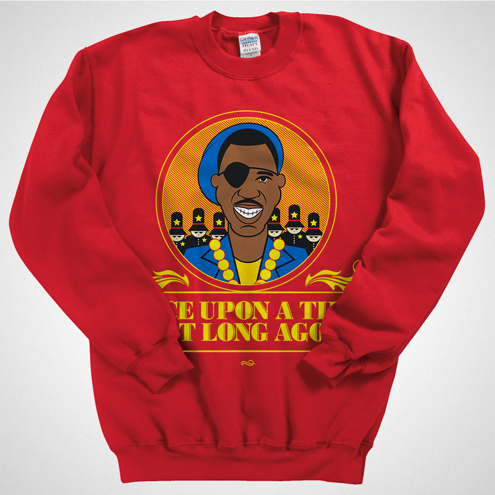 """Slick Rick - Once Upon A Time - Sweat Shirt A limited edition hip-hop sweat shirt inspired by Slick Rick's """"Childrens Story"""". Available until June 1st at www.mymainmanpat.com #slickrick #mmmp #mymainmanpat #childrensstory #theruler"""