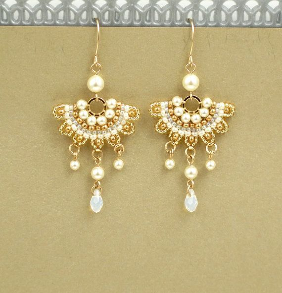 Bridal Earrings Chandelier Wedding Pearl Drop