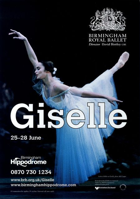 Giselle poster artwork 2008, Birmingham Royal Ballet; Leticia Müller as Giselle; photo: Bill Cooper