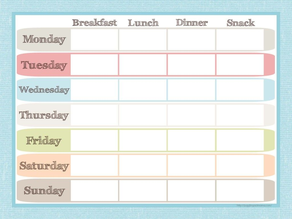 Menu Planner And Grocery List Printable Set  Menu Planners