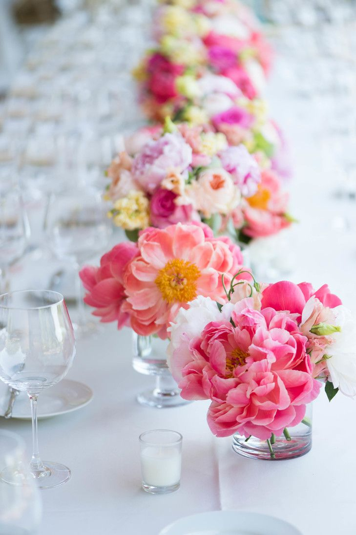 Bright Pink Peony Centerpieces | Emilia Jane Photography https://www ...