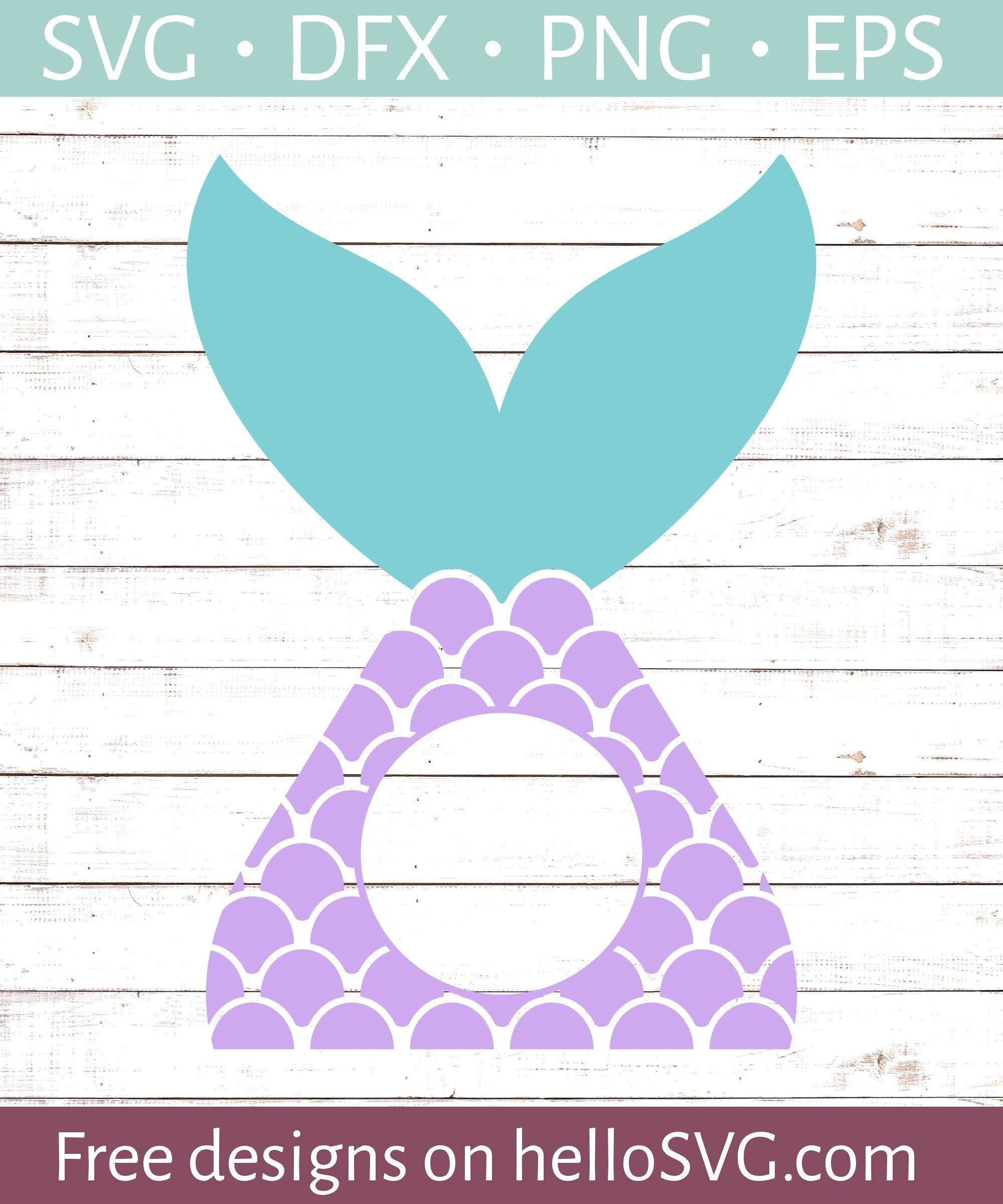 Mermaid Tail Circle Monogram SVG Free SVG files
