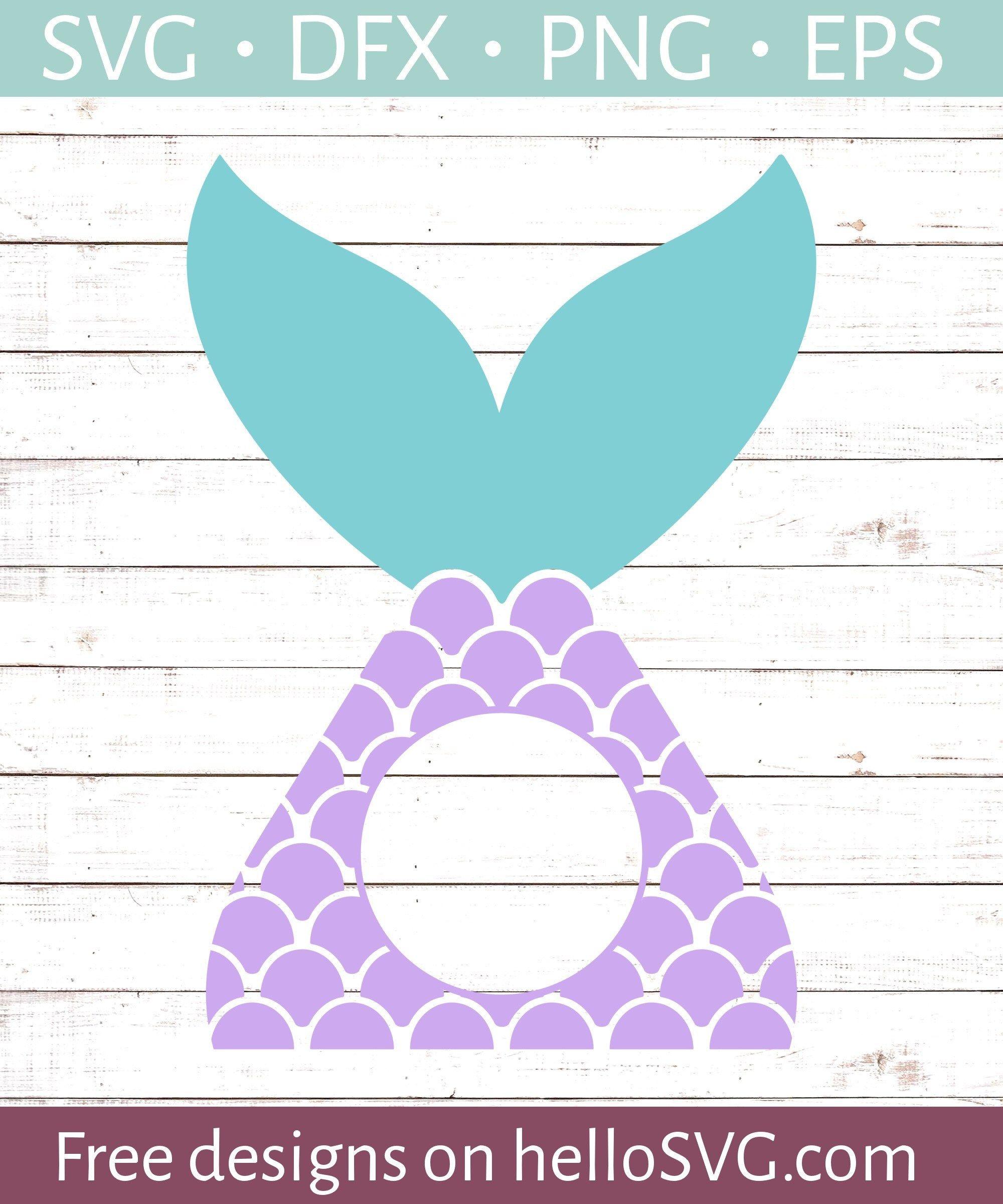 Mermaid Tail Circle Monogram SVG Free SVG files