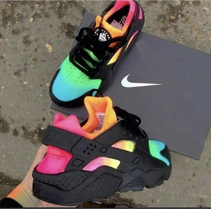 Custom Rainbow Hur Nike Air Huarache Custom Nike Shoes Jordan Shoes Girls
