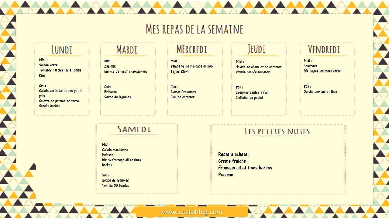 menu de la semaine maangeeerr pinterest menu food menu and thermomix. Black Bedroom Furniture Sets. Home Design Ideas