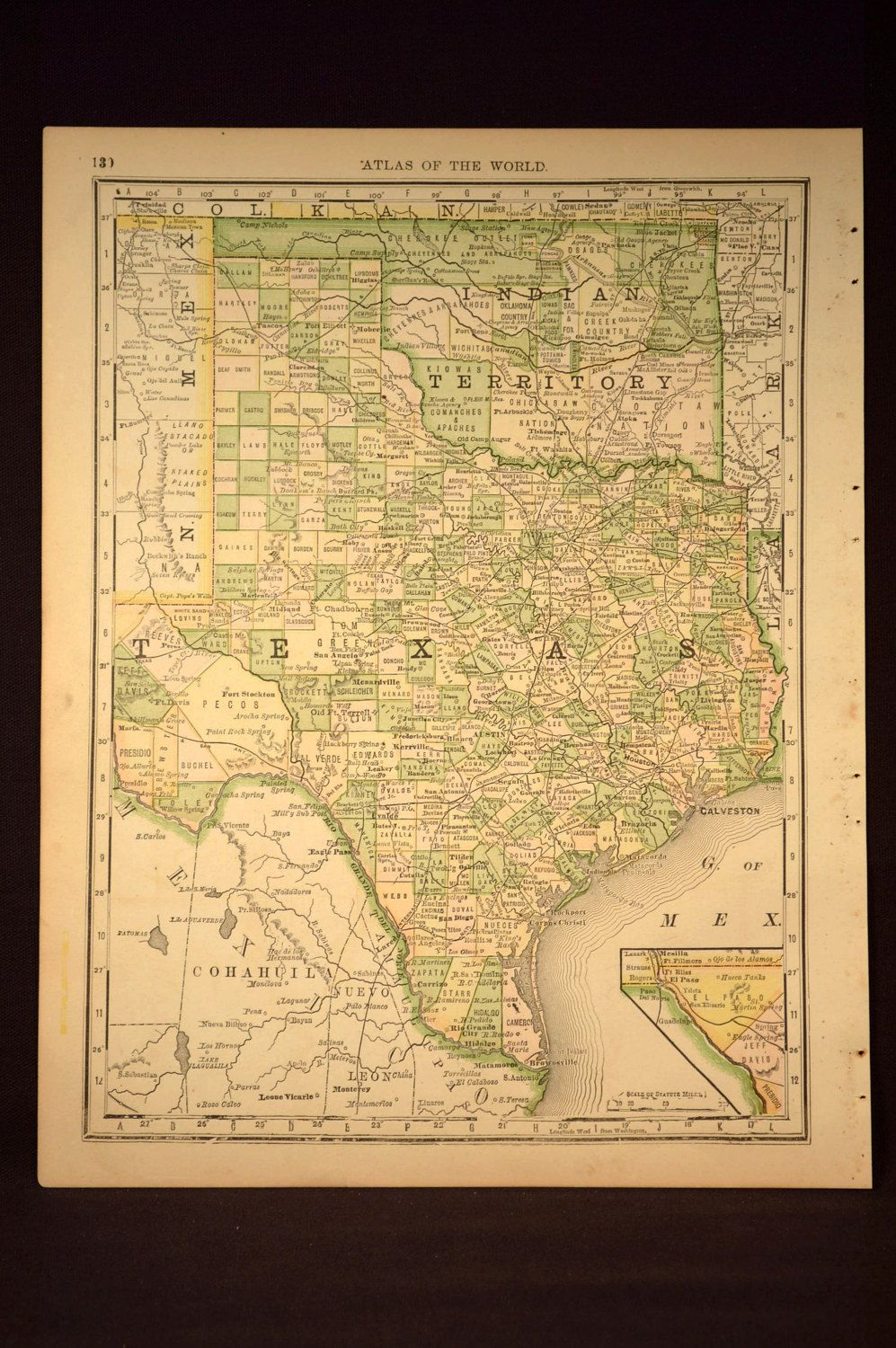 Antique Texas Map Oklahoma Map Original Hand Colored Texas