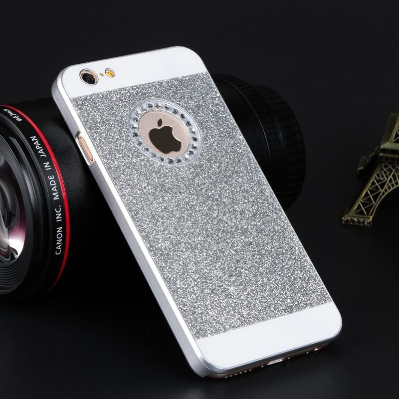 Shinning Logo Window Back Cover Sparkling Phone Cases for iPhone 5 5S SE 6 6S 6Plus 6s plus Glitter Diamond Mobile Phone Cases