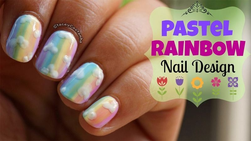 Pastel Rainbow  nail art by Stacey  Castanha