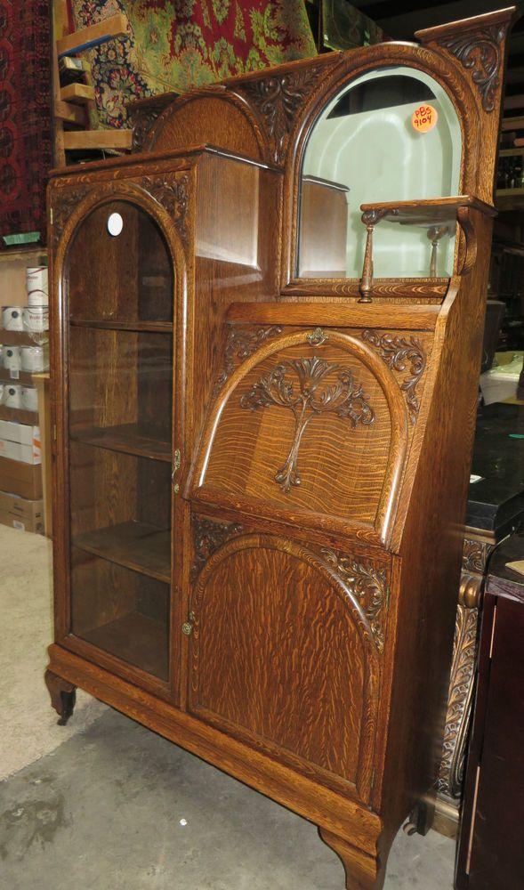 Oak Side By Side Drop Front Secretary Desk Bookcase with Cabinet - Oak Side By Side Drop Front Secretary Desk Bookcase With Cabinet