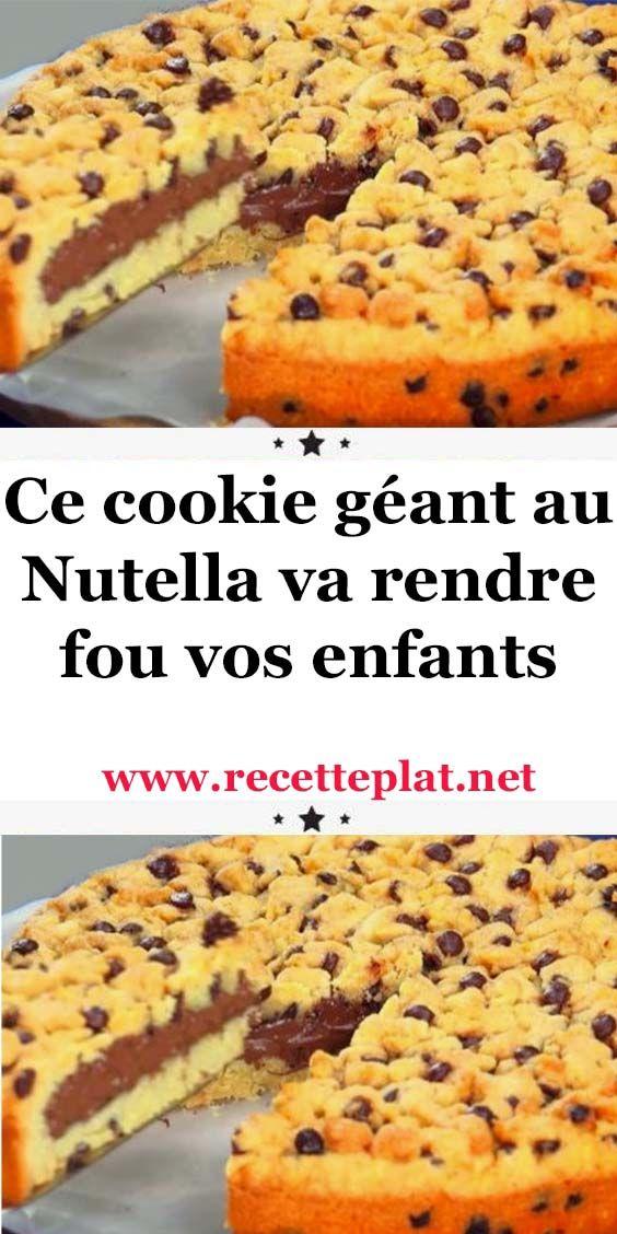 Ce cookie géant au Nutella va rendre fou vos enfants  #recettesdecuisine