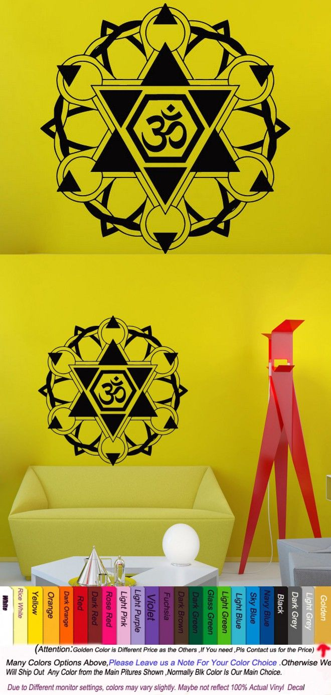 Yoga Vinyl Wall Decal Mandala Indian Yoga Oum Om Sign Home Decor ...