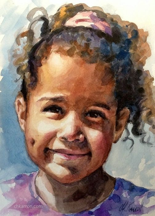 Watercolor Portrait Painting By Christine Karron 9x12 Watch