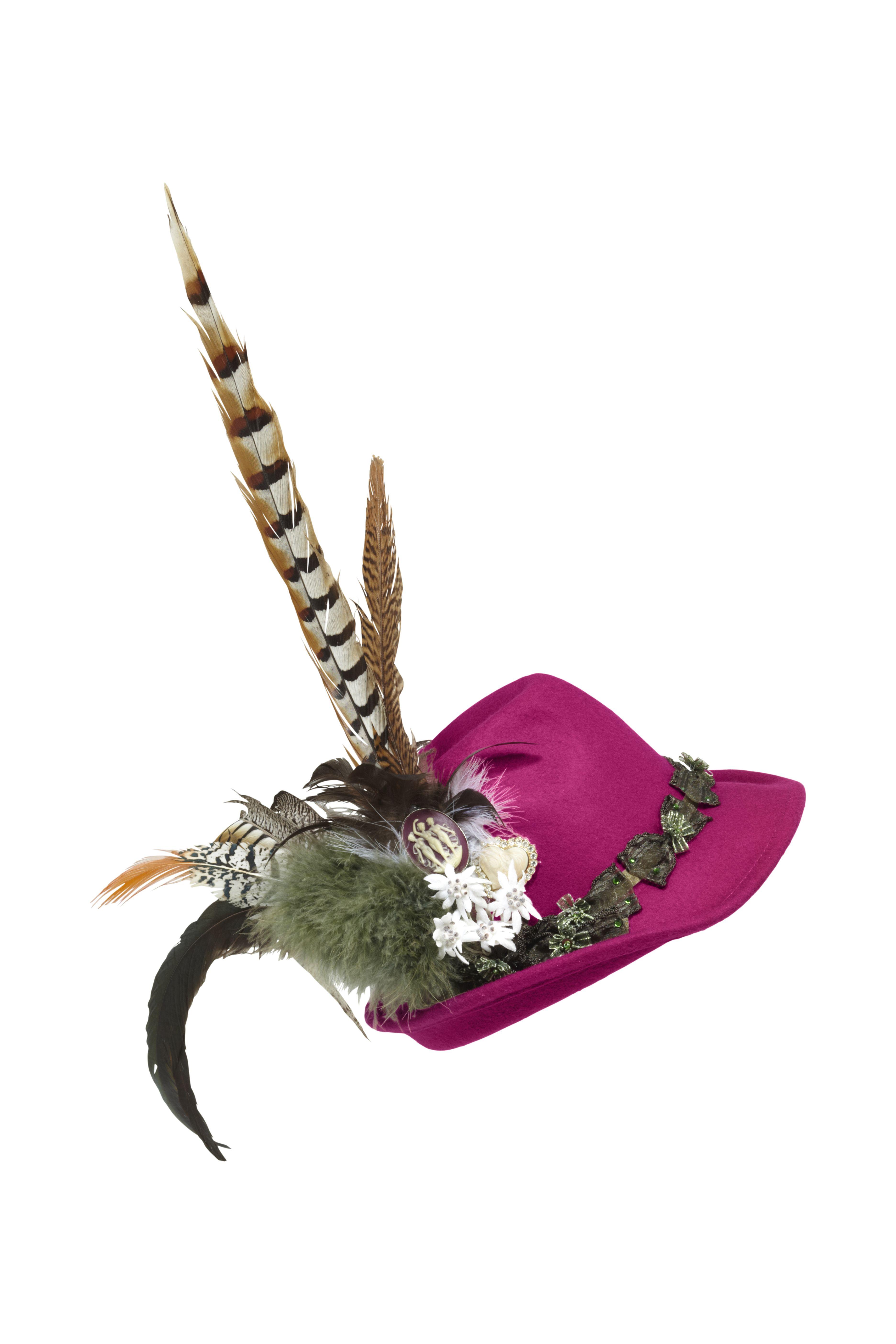 Designer-Hut mit Federn und Blumenborte