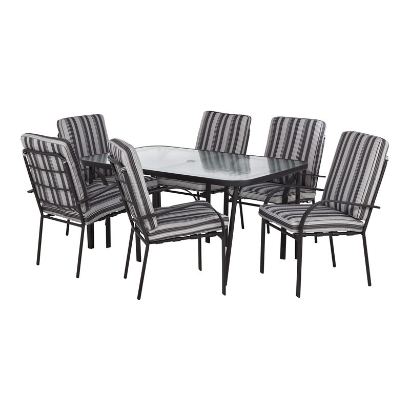 Marquee 7 Piece Sierra Cushioned Steel Outdoor Setting I N
