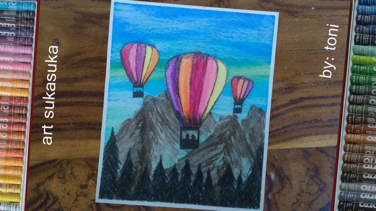 Cara Menggambar Pemandangan Dan Balon Udara Gambar