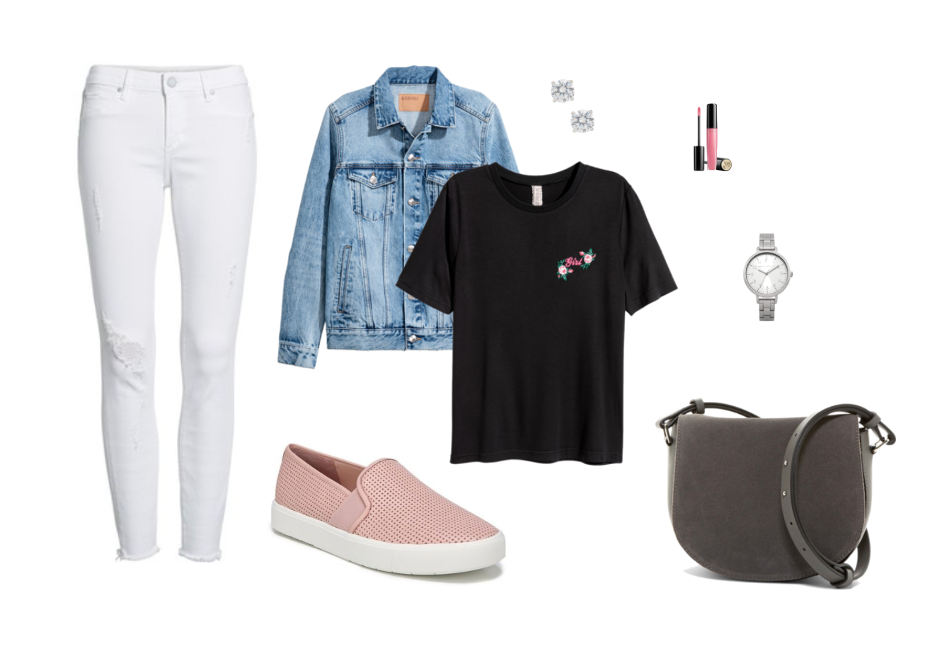 Slip-on sneakers outfit: Pink slip on