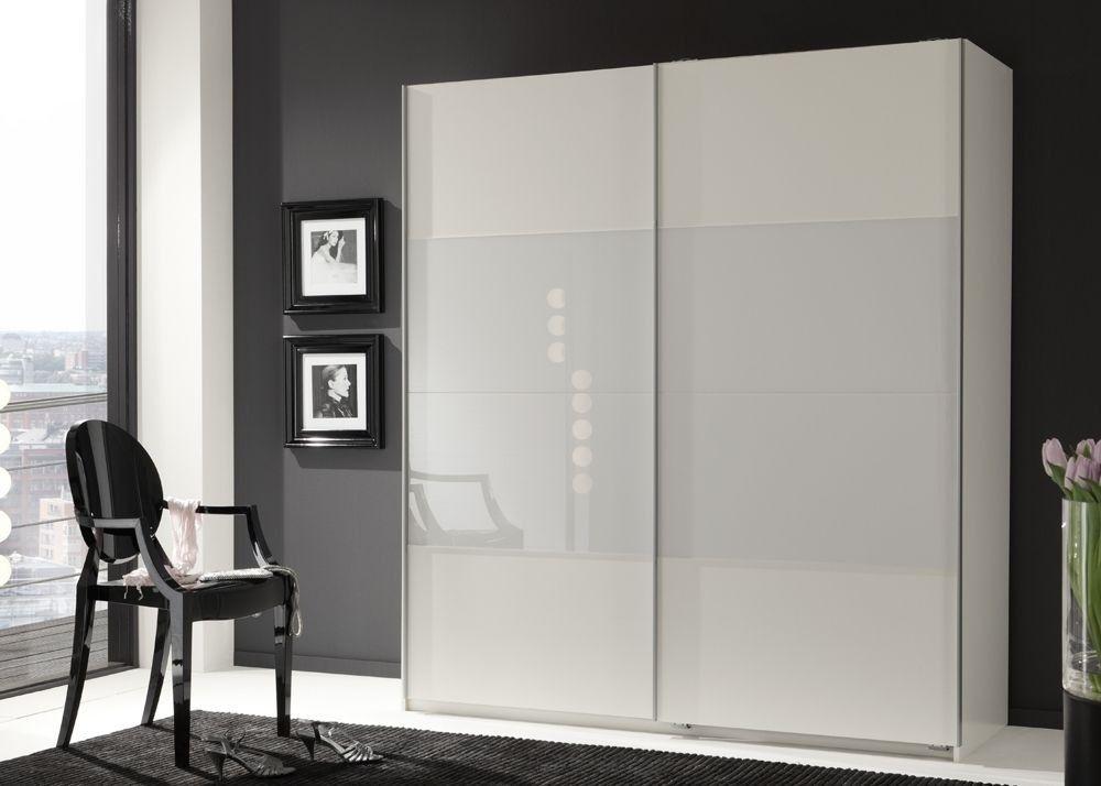 Schwebetürenschrank Enter Schlafzimmerschrank 179,0 Weiß \ Glas