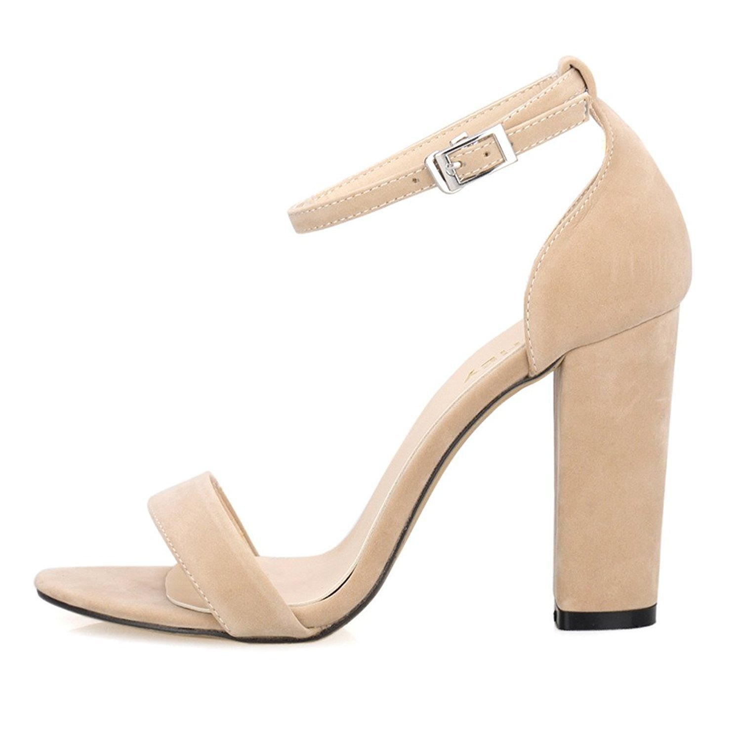 d270f1fe7a3 ZriEy Women s Chunky Block Strappy High Heel Sandals Fashion Simple Ankle  Strap Open Toe Shoes for Formal Dress Wedding Party