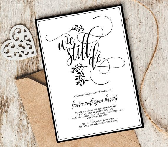 Vow Renewal Invitation Template Printable We Still Do Instant