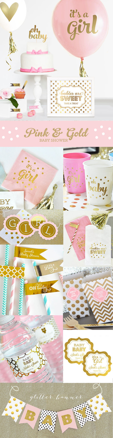 pink and gold baby shower decor unique baby shower ideas gold