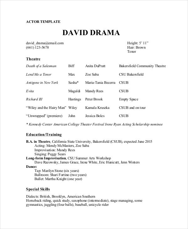Theatre Director Resume Template , The General Format and Tips for - musical theatre resume template