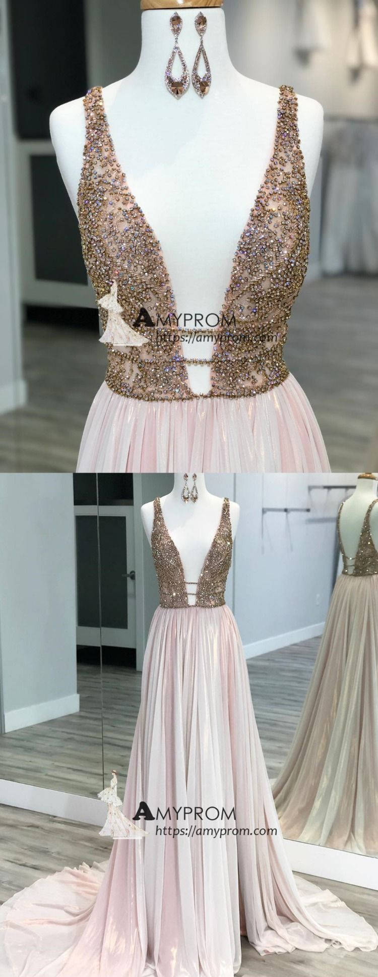 3a427dce2bc Chic Pink Sparkly Prom Dress Deep V neck Rhinestone Evening Dress With Beaded  Elegant Formal Gowns