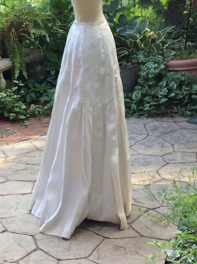 Victorian White Linen Floor Length Skirt Handmade Victorian
