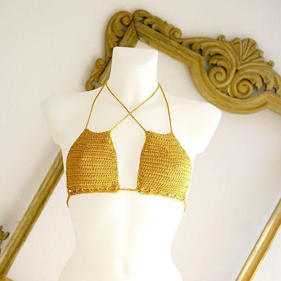 Crochet el bikiní amarillo, bikiní del ganchillo, bikini brasileño ...